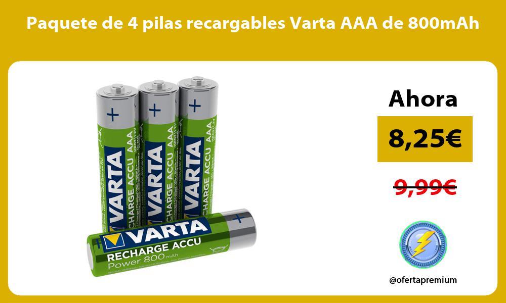 Paquete de 4 pilas recargables Varta AAA de 800mAh
