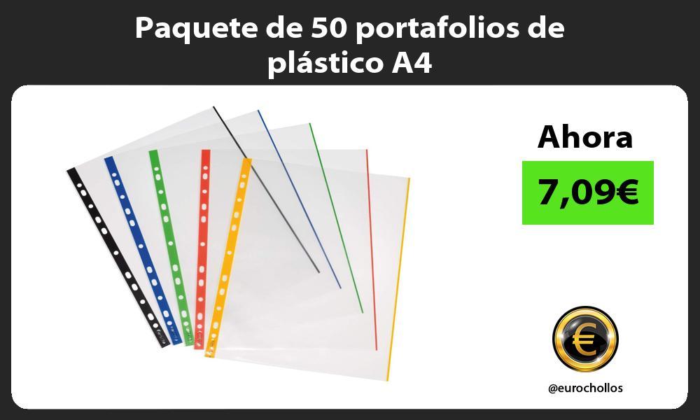 Paquete de 50 portafolios de plástico A4