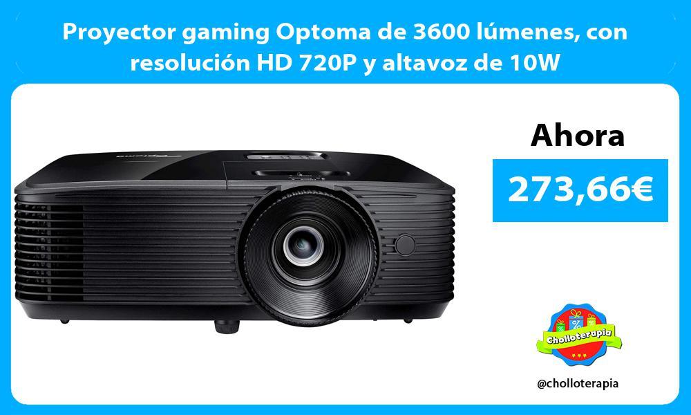 Proyector gaming Optoma de 3600 lúmenes con resolución HD 720P y altavoz de 10W