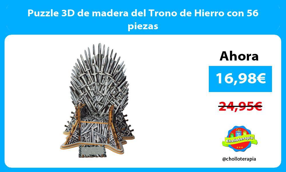 Puzzle 3D de madera del Trono de Hierro con 56 piezas