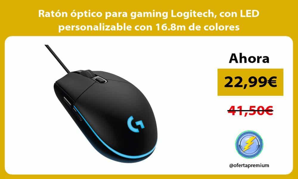 Ratón óptico para gaming Logitech con LED personalizable con 16.8m de colores