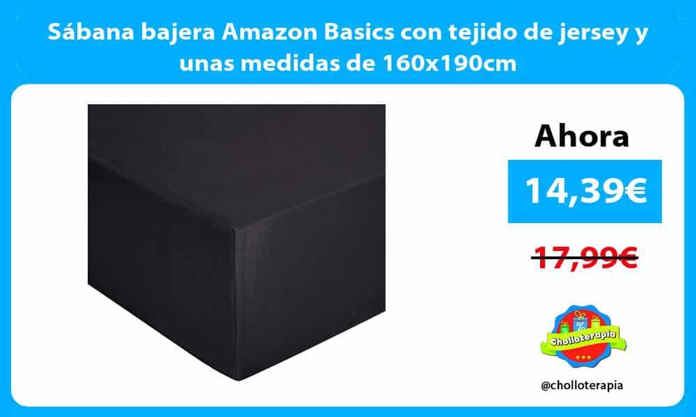 Sábana bajera Amazon Basics con tejido de jersey y unas medidas de 160x190cm
