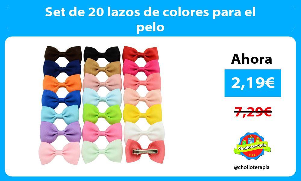 Set de 20 lazos de colores para el pelo