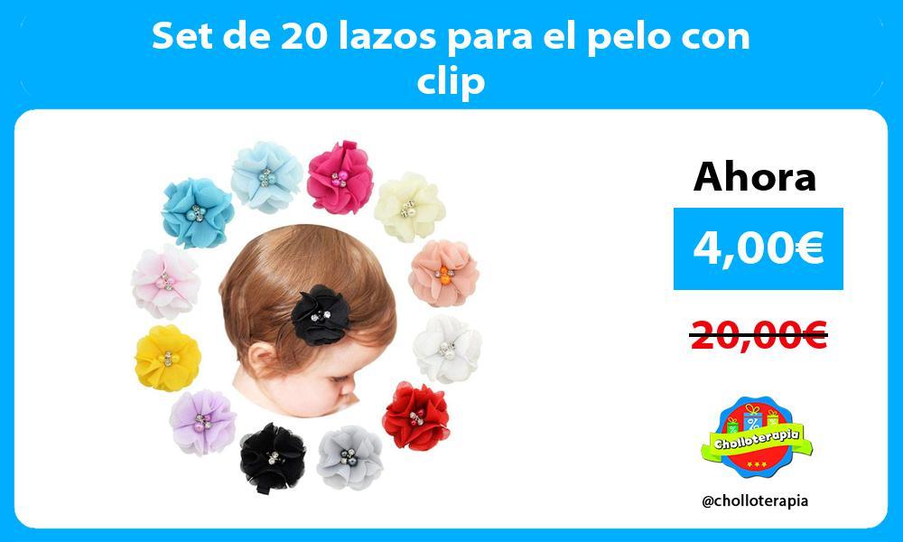 Set de 20 lazos para el pelo con clip