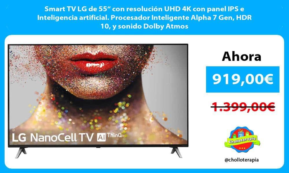 "Smart TV LG de 55"" con resolución UHD 4K con panel IPS e Inteligencia artificial. Procesador Inteligente Alpha 7 Gen HDR 10 y sonido Dolby Atmos"