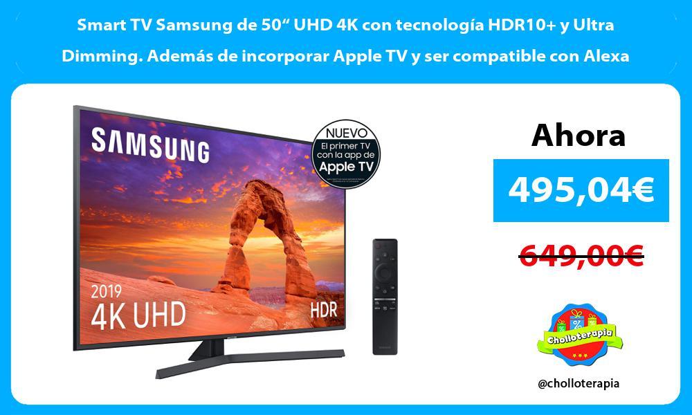 """Smart TV Samsung de 50"""" UHD 4K con tecnología HDR10 y Ultra Dimming. Además de incorporar Apple TV y ser compatible con Alexa"""