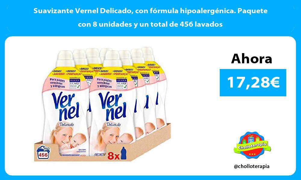 Suavizante Vernel Delicado con fórmula hipoalergénica. Paquete con 8 unidades y un total de 456 lavados