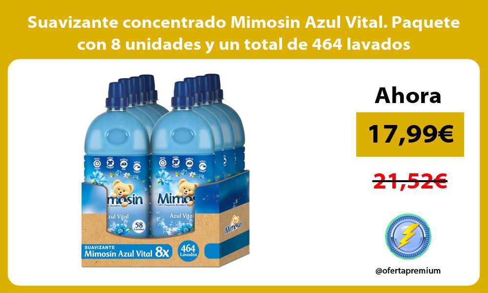 Suavizante concentrado Mimosin Azul Vital. Paquete con 8 unidades y un total de 464 lavados