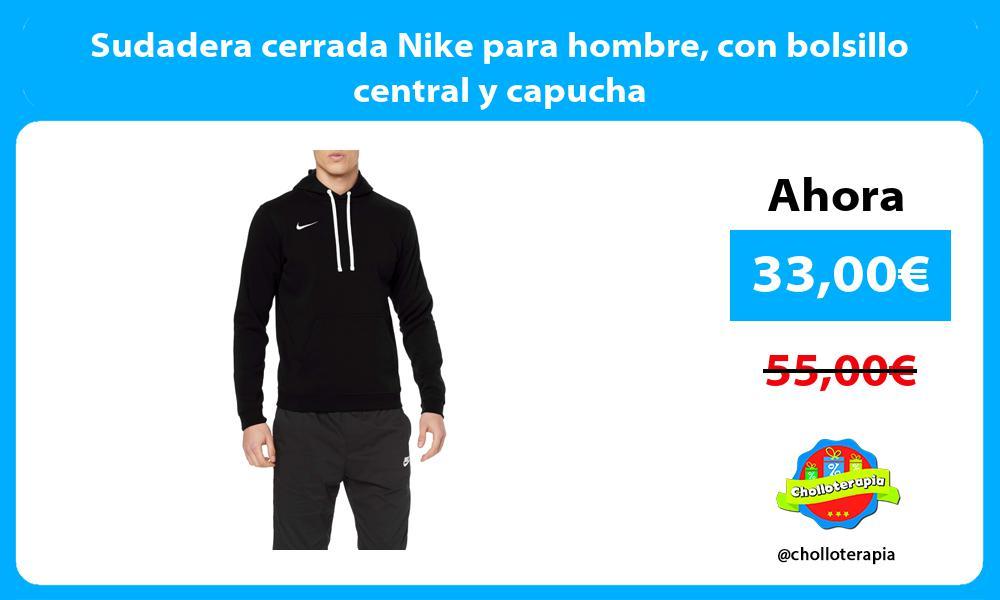 Sudadera cerrada Nike para hombre con bolsillo central y capucha