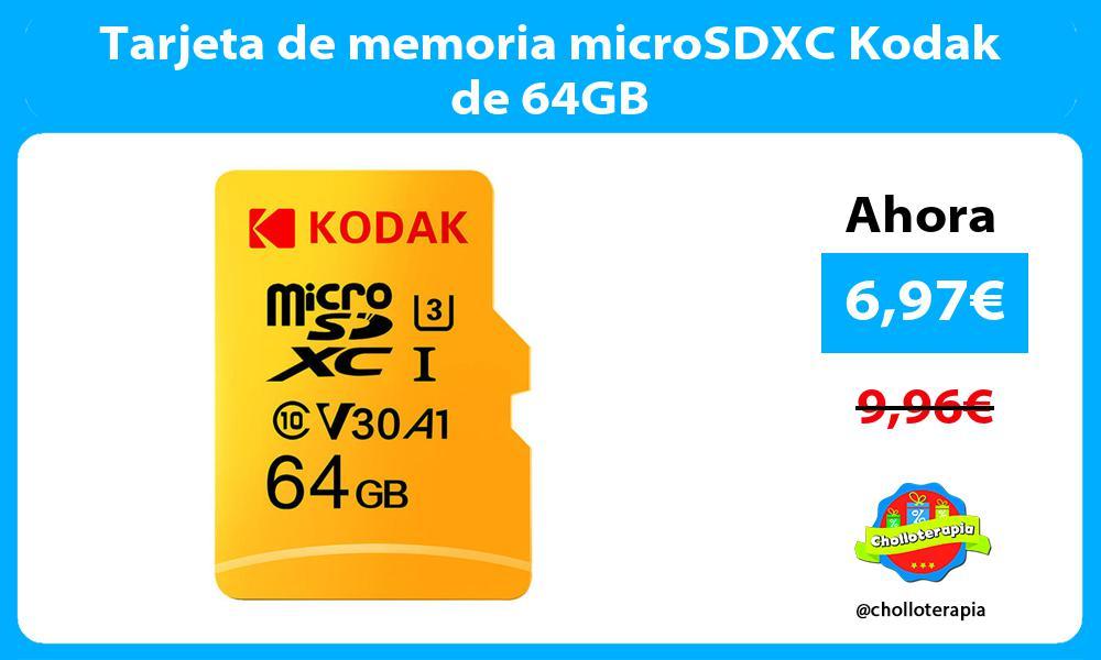 Tarjeta de memoria microSDXC Kodak de 64GB