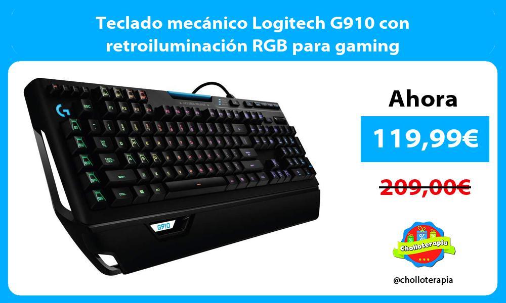 Teclado mecánico Logitech G910 con retroiluminación RGB para gaming