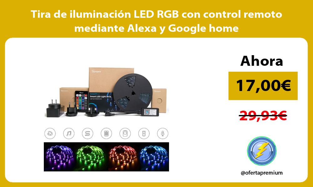 Tira de iluminación LED RGB con control remoto mediante Alexa y Google home