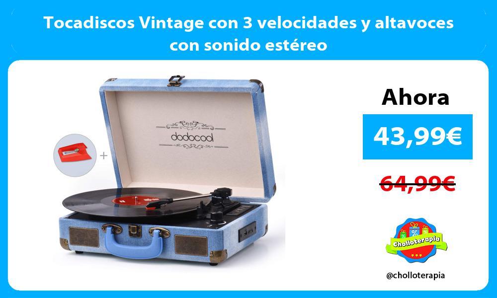 Tocadiscos Vintage con 3 velocidades y altavoces con sonido estéreo