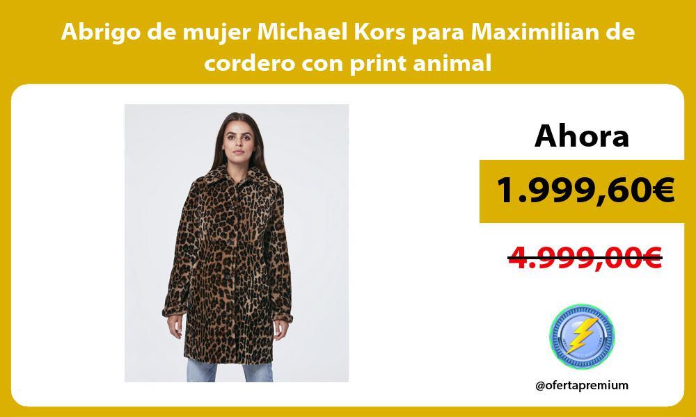 Abrigo de mujer Michael Kors para Maximilian de cordero con print animal