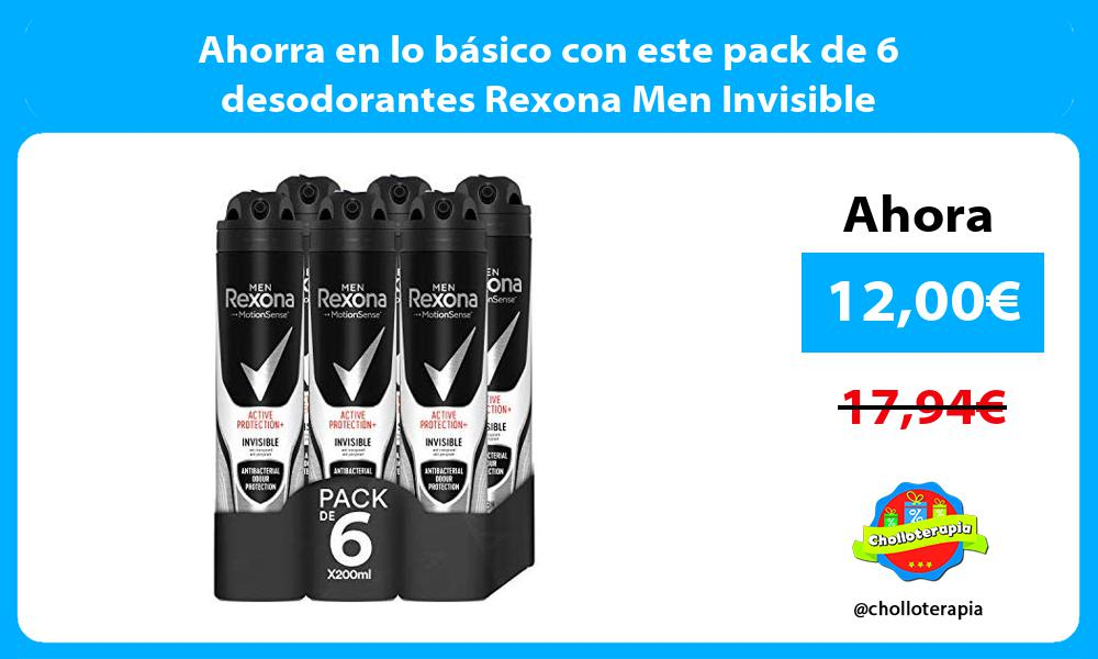 Ahorra en lo básico con este pack de 6 desodorantes Rexona Men Invisible
