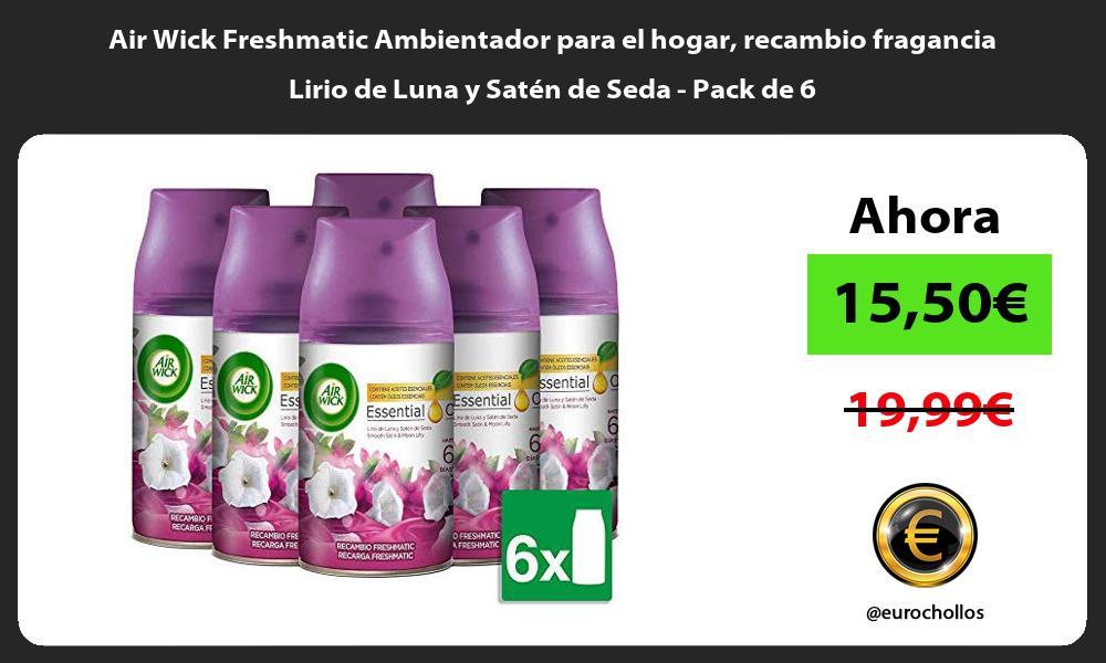 Air Wick Freshmatic Ambientador para el hogar recambio fragancia Lirio de Luna y Satén de Seda Pack de 6