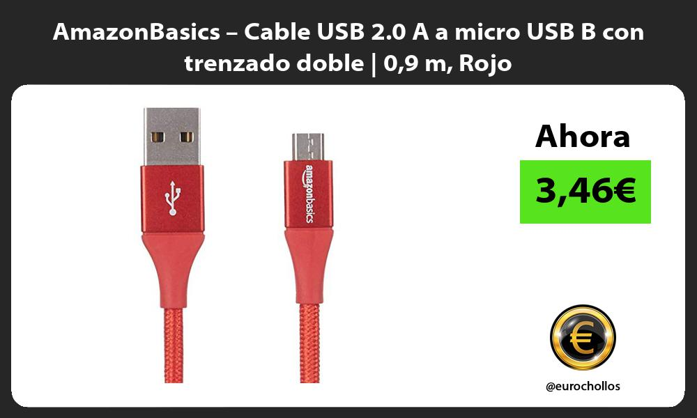 AmazonBasics – Cable USB 2 0 A a micro USB B con trenzado doble 09 m Rojo