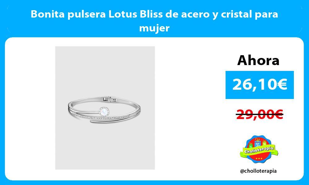 Bonita pulsera Lotus Bliss de acero y cristal para mujer