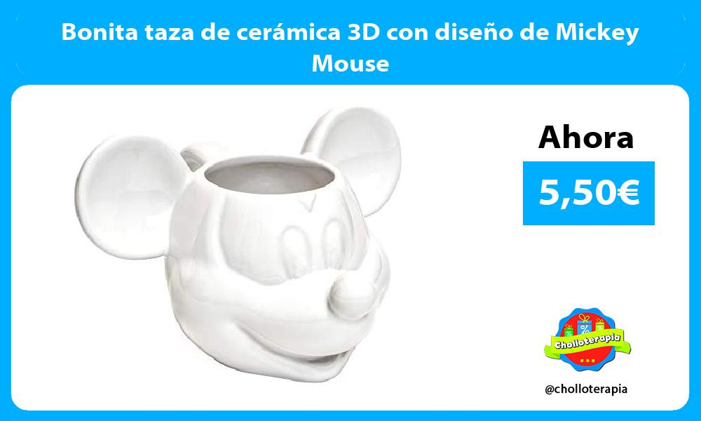 Bonita taza de cerámica 3D con diseño de Mickey Mouse