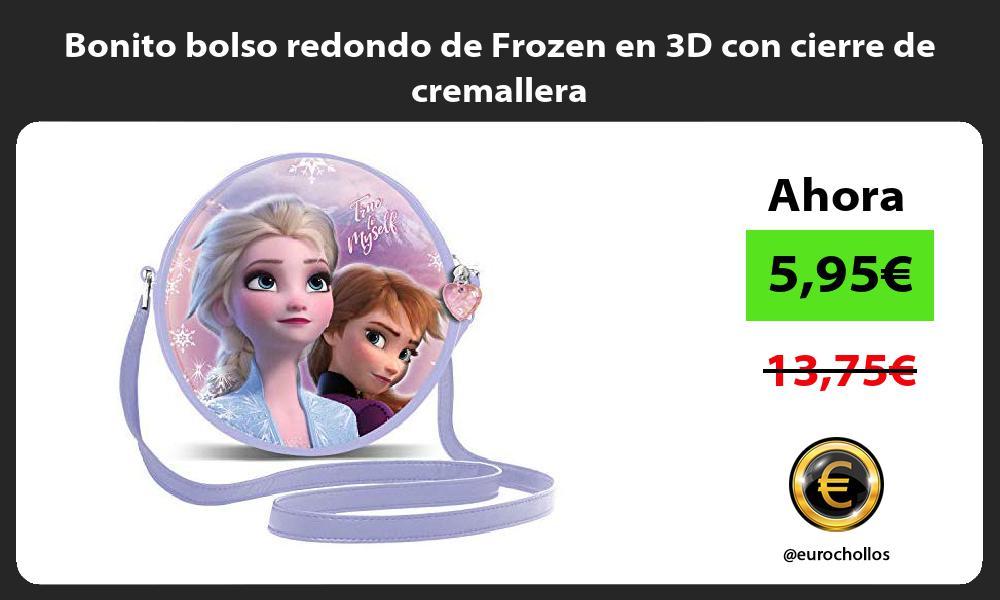 Bonito bolso redondo de Frozen en 3D con cierre de cremallera