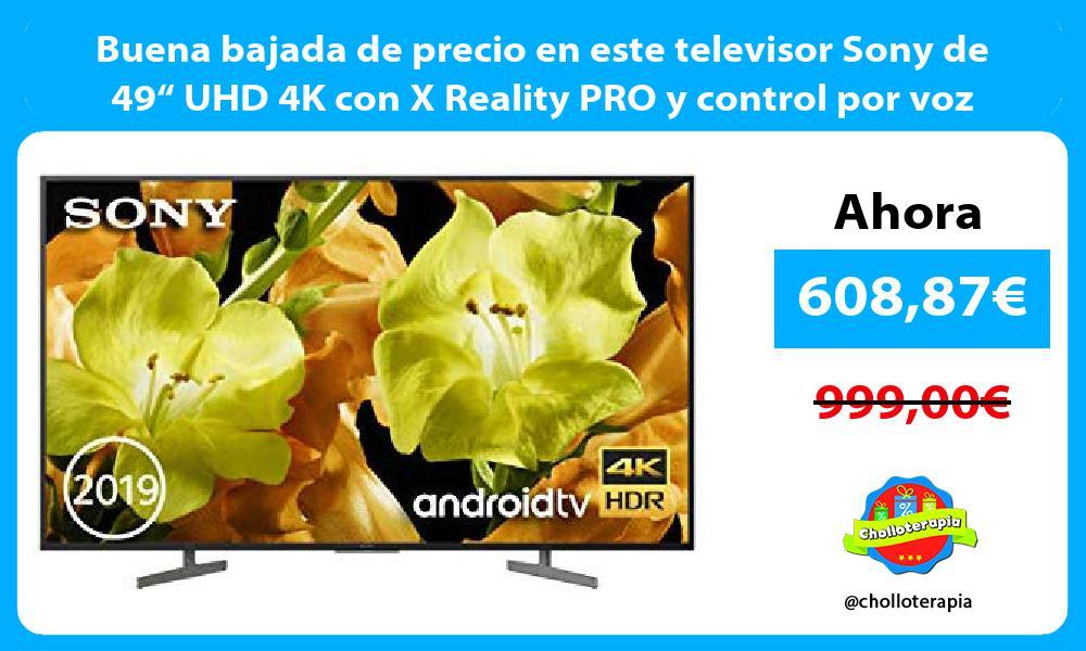 """Buena bajada de precio en este televisor Sony de 49"""" UHD 4K con X Reality PRO y control por voz"""