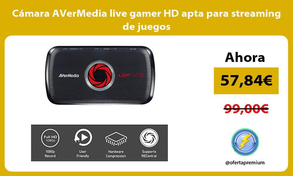 Cámara AVerMedia live gamer HD apta para streaming de juegos