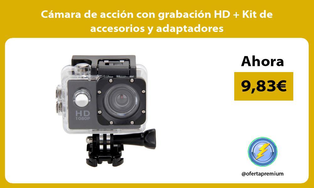 Cámara de acción con grabación HD Kit de accesorios y adaptadores