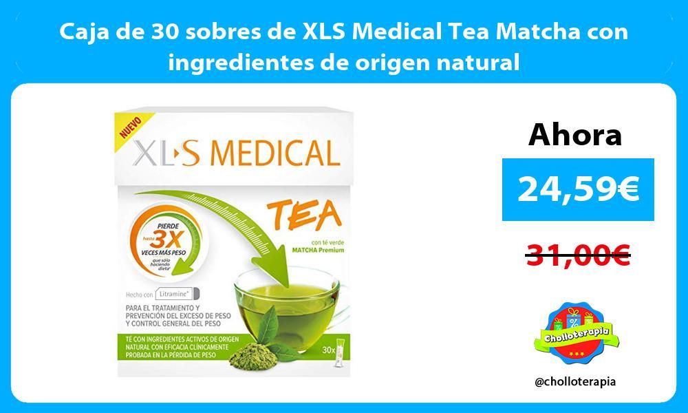 Caja de 30 sobres de XLS Medical Tea Matcha con ingredientes de origen natural