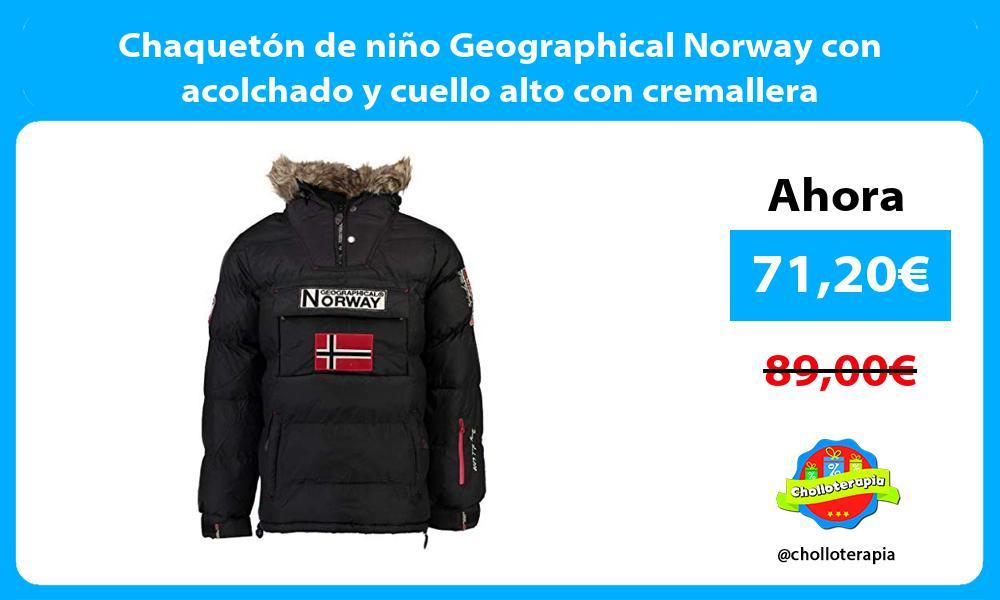 Chaquetón de niño Geographical Norway con acolchado y cuello alto con cremallera