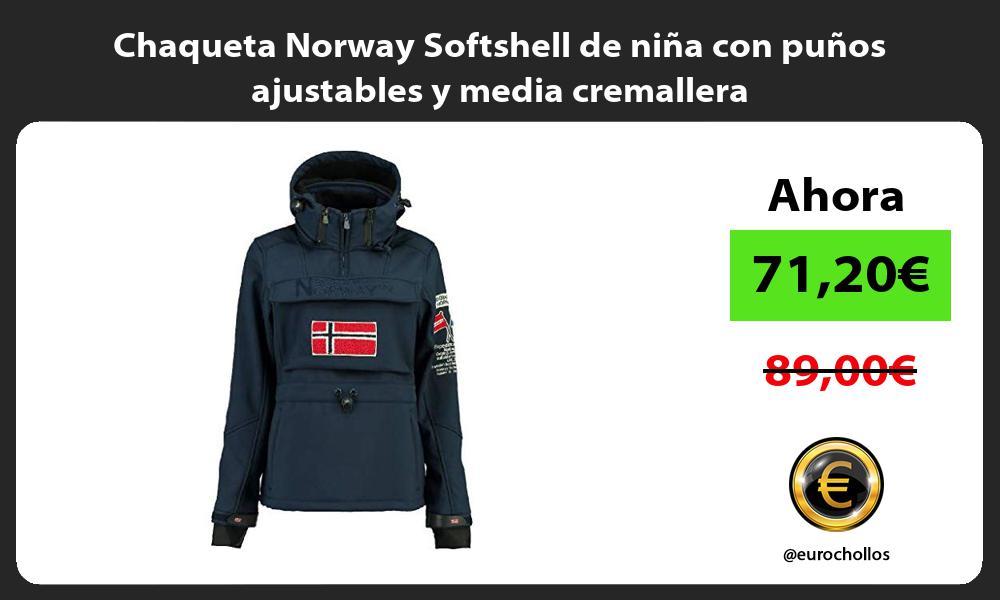 Chaqueta Norway Softshell de niña con puños ajustables y media cremallera