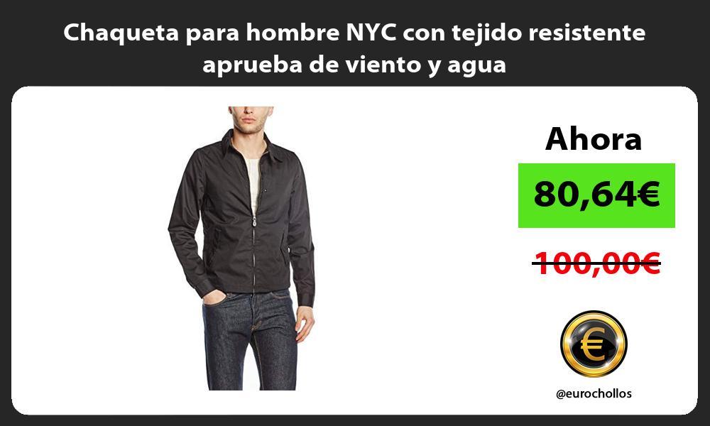 Chaqueta para hombre NYC con tejido resistente aprueba de viento y agua