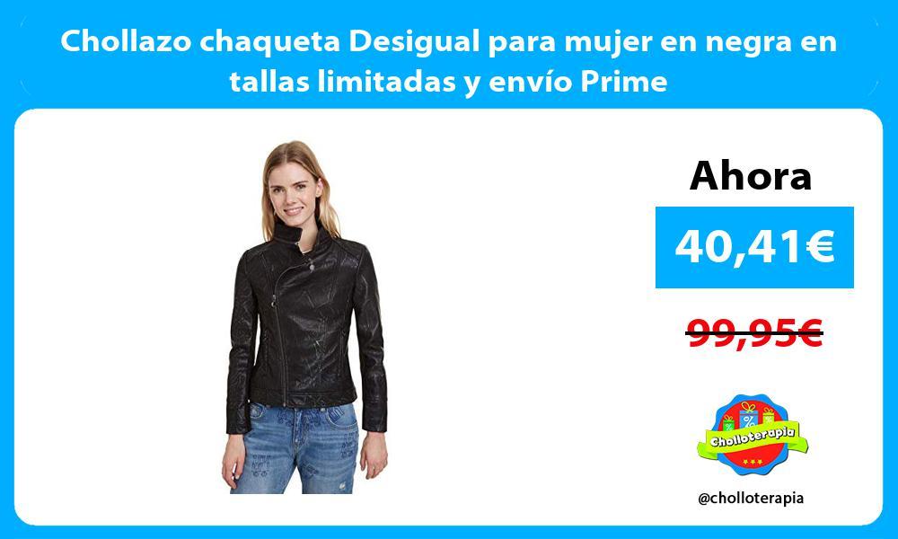 Chollazo chaqueta Desigual para mujer en negra en tallas limitadas y envío Prime