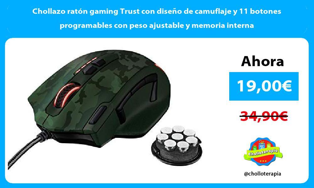 Chollazo ratón gaming Trust con diseño de camuflaje y 11 botones programables con peso ajustable y memoria interna
