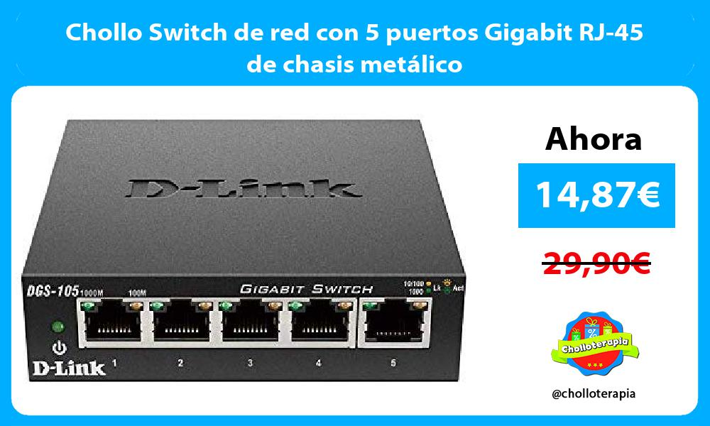 Chollo Switch de red con 5 puertos Gigabit RJ 45 de chasis metálico