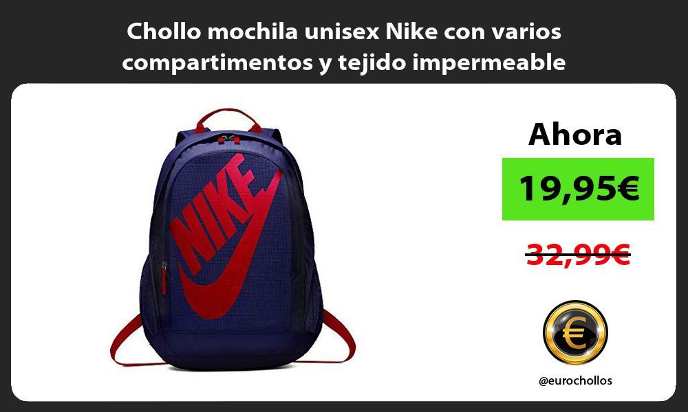 Chollo mochila unisex Nike con varios compartimentos y tejido impermeable