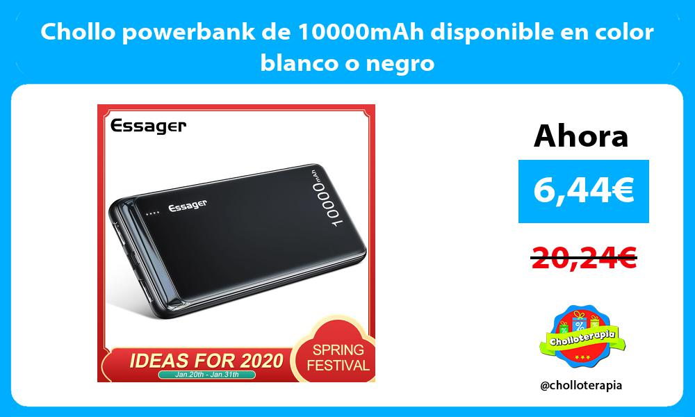 Chollo powerbank de 10000mAh disponible en color blanco o negro