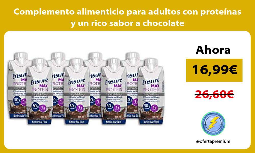 Complemento alimenticio para adultos con proteínas y un rico sabor a chocolate