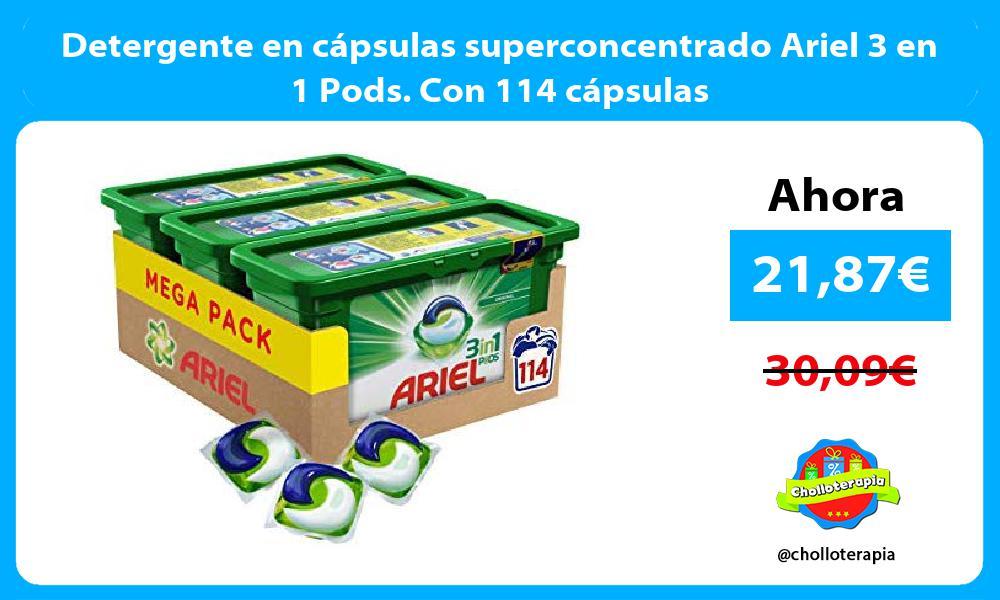 Detergente en cápsulas superconcentrado Ariel 3 en 1 Pods Con 114 cápsulas