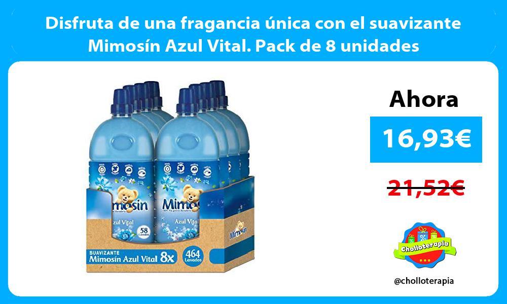 Disfruta de una fragancia única con el suavizante Mimosín Azul Vital. Pack de 8 unidades
