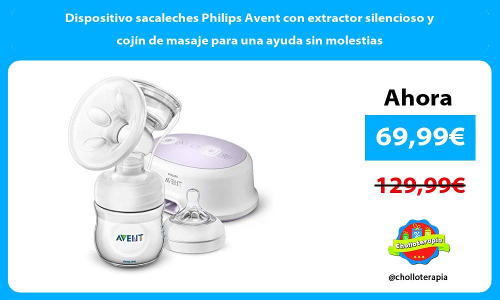 Dispositivo sacaleches Philips Avent con extractor silencioso y cojín de masaje para una ayuda sin molestias