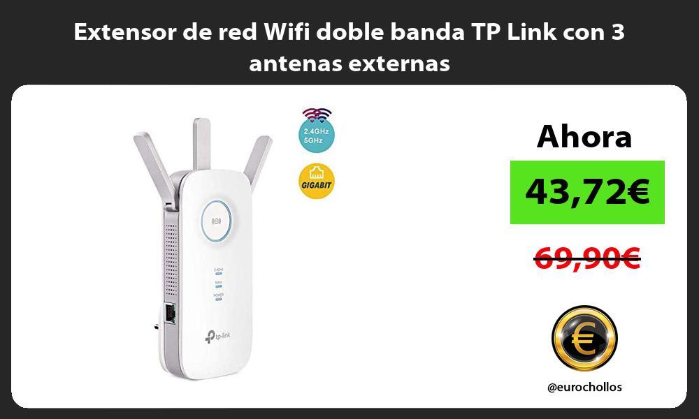 Extensor de red Wifi doble banda TP Link con 3 antenas externas