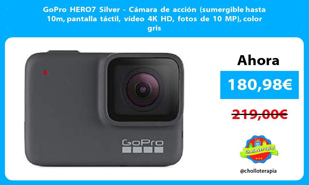 GoPro HERO7 Silver Cámara de acción sumergible hasta 10m pantalla táctil vídeo 4K HD fotos de 10 MP color gris