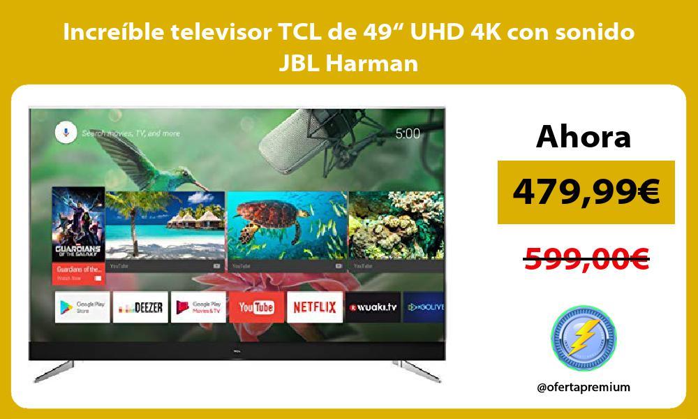 "Increíble televisor TCL de 49"" UHD 4K con sonido JBL Harman"