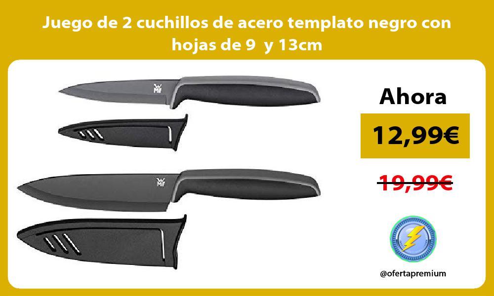 Juego de 2 cuchillos de acero templato negro con hojas de 9 y 13cm