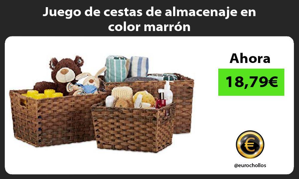 Juego de cestas de almacenaje en color marrón