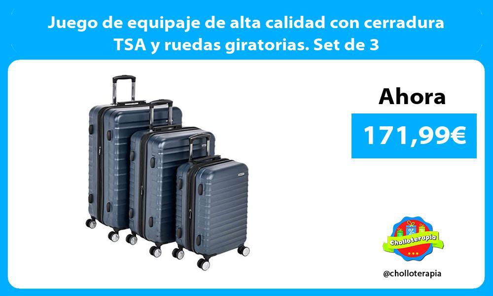 Juego de equipaje de alta calidad con cerradura TSA y ruedas giratorias Set de 3