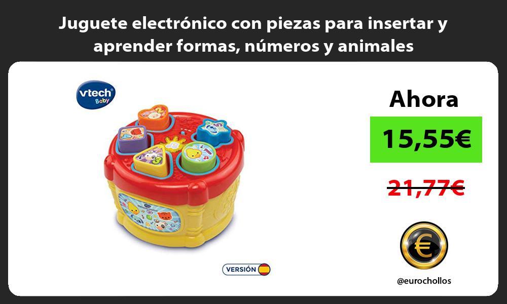Juguete electrónico con piezas para insertar y aprender formas números y animales