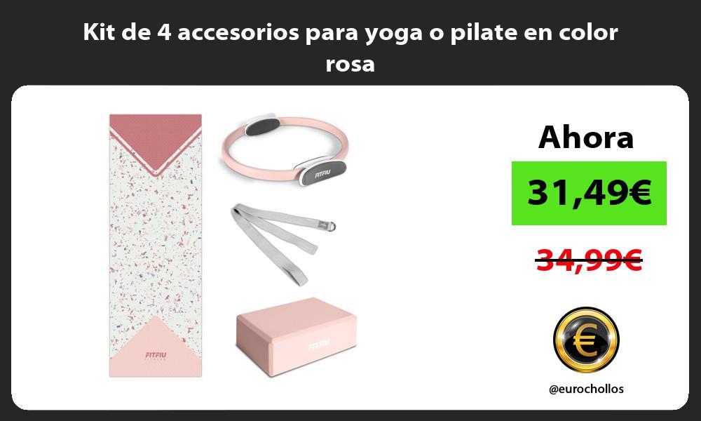 Kit de 4 accesorios para yoga o pilate en color rosa