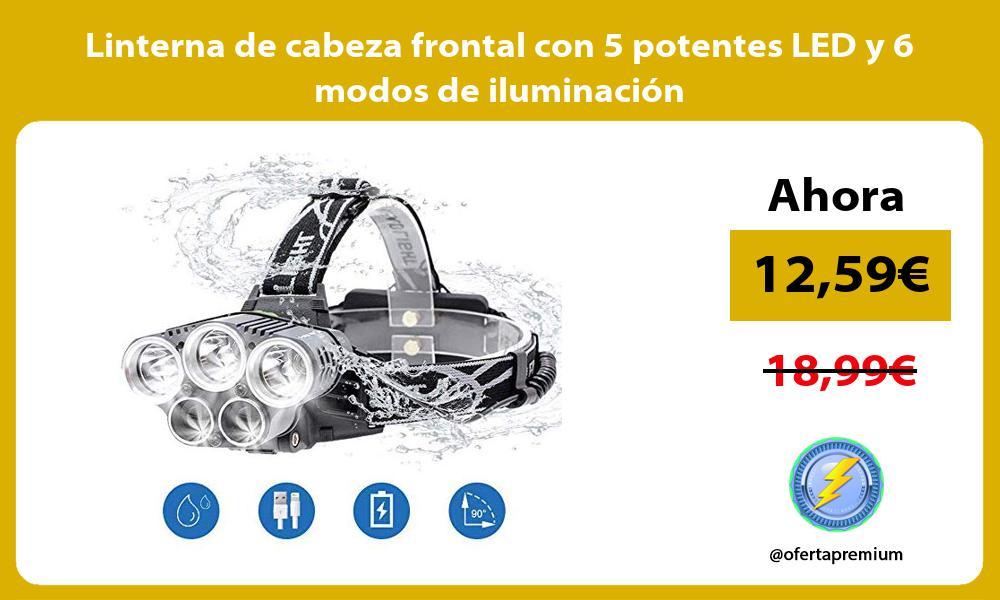 Linterna de cabeza frontal con 5 potentes LED y 6 modos de iluminación