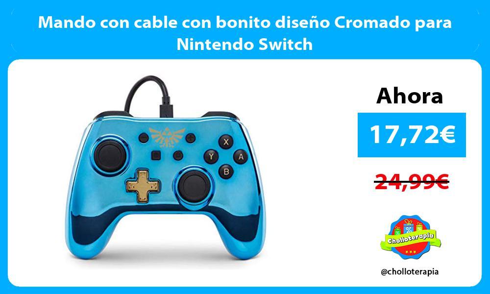 Mando con cable con bonito diseño Cromado para Nintendo Switch